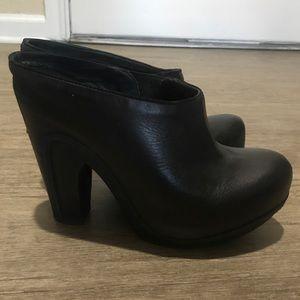 All Saints black leather Anat heeled mules/ clogs
